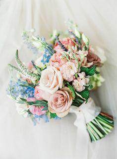 New Wedding Bouquets Tulips Blue Flower Arrangements 59 Ideas Delphinium Wedding Bouquet, Flower Bouquet Wedding, Bridal Bouquets, Flower Bouquets, Tulip Wedding, Spring Wedding Flowers, Wedding Blue, Gown Wedding, Wedding Pastel