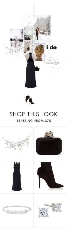 """""""True Romance: Winter Wedding"""" by sharmarie ❤ liked on Polyvore featuring Jimmy Choo, Roland Mouret, Valentino, Yves Saint Laurent and Anne Sisteron"""