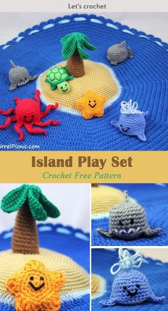 Crochet For Beginners Crochet Island Play Set Free Pattern . You can clean this play set up by just rolling it up to become a bag, it's very easy to store! Crochet Baby Toys, Crochet Patterns Amigurumi, Crochet Gifts, Crochet For Kids, Crochet Dolls, Free Crochet, Knitting Patterns, Knit Crochet, Crochet Patterns Baby
