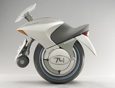 """EMBRIO: mono motorcycle by Canadian Bombardier Recreational Products. 2003 design for 2025? Fuel cell electric (Hydrogen). L1240 mm (48.8"""") / W 700 mm (27.5"""") / H 200 mm (47.5"""") / 164 kg (360 lbs). 2 seater"""