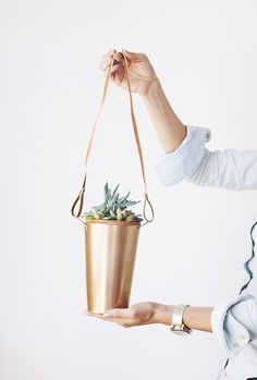 DIY Copper Hanging Plants - great idea for covered areas outside
