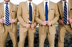 AHFASHION's 3 Button Dark Tan Wedding Suits / Grooms Suitsmen's wedding suits on sale for the groom and the groomsmen, Buy matching suits