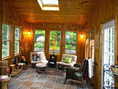 The Top Secret Details About Pine Wall Paneling Ideas That People Aren't Aware Of — Porch and Chimney Ever All Season Porch, Three Season Room, Porch Flooring Tiles, Tile Floor, Cabin Porches, Rustic Porches, Front Porches, Brick Paneling, Paneling Ideas