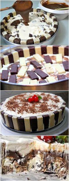 QUER UMA SOBREMESA QUE VAI DEIXAR TODOS DE ÁGUA NA BOCA?TORTA DE BIS COM SORVETE! VEJA AQUI>>>Pique os bis e coloque no fundo do refratário; Depois coloque o brigadeiro e espere esfriar; #receita#bolo#torta#doce#sobremesa#aniversario#pudim#mousse#pave#Cheesecake#chocolate#confeitaria