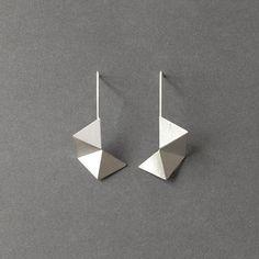 Geometric Sterling Silver Earrings Geometric Black by RawObjekt