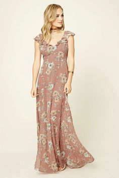 Forever 21 Contemporary - A sleeveless woven maxi dress featuring a floral print, ruffled V-neckline, a self-tying cutout back, a high side slit, and a concealed back zipper.