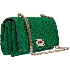 Valentino Green Lace Shoulder Bag ($1,715) ❤ liked on Polyvore featuring bags, handbags, shoulder bags, clutches, purses, bolsos, green, green purse, valentino purses and purse shoulder bag