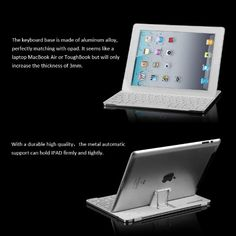Amazon.com: Excelvan® Aluminum Ultrathin iPad Bluetooth Wireless Keyboard with Stand for Apple iPad2/4/New Ipad - White: Computers & Accesso...