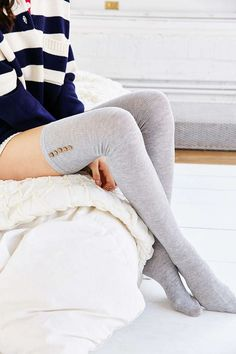 Lightweight Button Thigh-High Thermal Sock Urban Outfitters women s intimate Sexy Socks, Cool Socks, Thigh High Socks, Thigh Highs, Knee Highs, Knee Socks, Urban Outfitters Women, Cool Outfits, Fashion Outfits