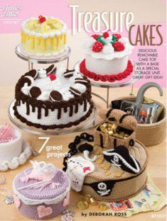 """1 Annie's Attic """"Treasure Cakes"""" Crochet Pattern Book by Deborah Ross Crochet Cake, Annie's Crochet, Crochet Food, Cookies And Cream Cake, Cupcakes, Felt Food, Play Food, Crochet Patterns For Beginners, Box Cake"""