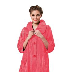"""Damee NYC Long Jacket - """"The Swing Jacket"""" in Coral - 200"""