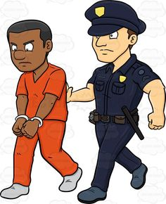 A black male prisoner being escorted by a policeman