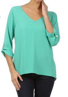 Amanda V Neck Solid Top Mint | Freckles Boutique