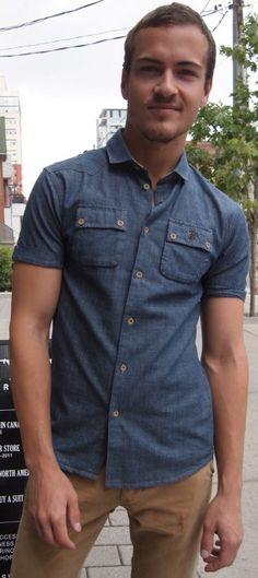 United Kingdom of Luke denim chambray shirt $110 from Gotstyle Menswear.