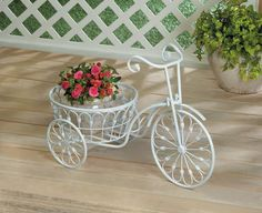 WHITE BICYCLE PLANTER POT STAND DISPLAY INDOOR OR OUTSIDE DECOR10018026 #SUMMERFIELDTERRACE