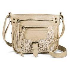 Women's Crochet Pocket Crossbody Handbag - Tan