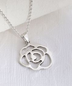 Look at this Sterling Silver Contemporary Rose Pendant Necklace on #zulily today!
