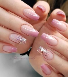 These Ombre Wedding Nails Are So Pretty, French Ombre Nails Fancy Nails, Gold Nails, Cute Nails, Gel Nail Art Designs, Ombre Nail Designs, Nails Design, Elegant Nails, Stylish Nails, Trendy Nails