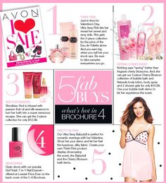 5 fab buys - 1. Ultra Sexy Pink - 2. Avon Naturals 5 pc Cherry Blossom Collection - 3. SSS Skindastice Red 3 pc Collection - 4. Gel Finish 7-in-1 Nail Enamel - 5. Ultra Sexy Babydoll Nightie - www.youravon.com/gkuper