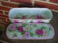 JH123 ROSES Victorian Glove Box More Roses-From our talented porcelain artist, Joye - hand painted and heart designed in the USA