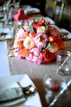 Coral Wedding Flowers Pink  The Barn at Twin Oaks Ranch