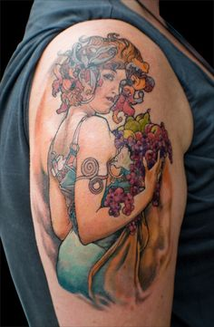 This is another awesome tattoo: Mucha's Fruit