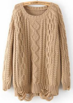 Khaki Long Sleeve Ripped Cable Knit Sweater