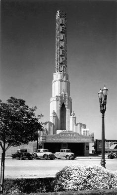 I do enjoy the sight of theater with a soaring tower, but this one might have to take the cake. This is the Leimert Theater at 3341 W. 43rd Place, Los Angeles (near USC) This shot was take in 1933—miraculously the building still stands there today as the Vision Theater.