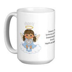 April Birthstone Angel Brunette Mugs