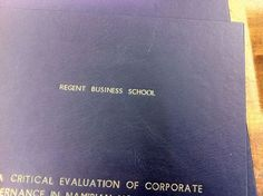 Thesis for Regent Business School, in navy blue.
