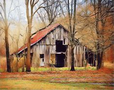 old barn in autumn Barn Pictures, Pictures To Paint, Farm Barn, Old Farm, Landscape Drawings, Landscape Paintings, Landscapes, Watercolor Barns, Farm Paintings