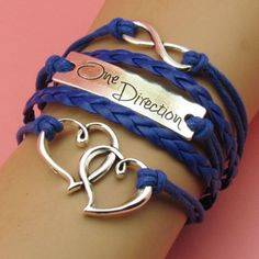 Friendship Bracelet One Direction 2 Hearts Navy Blue Leather Silver Charm Bracelet Free Shipping by Chasingdreams97 on Etsy