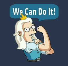 Princess Bean - We Can Do It, Disenchantment Friendzone, Great Memes, We Can Do It, Futurama, Best Series, Geek Girls, Disney Wallpaper, The Simpsons, Cute Stickers