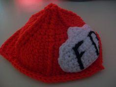 crochet fire helmet baby hat