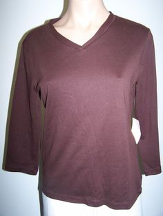 Coldwater Creek Size XS NWT Soft Knit Chocolate Brown Casual Top ¾ Sleeves  #ColdwaterCreek #KnitTop #Casual