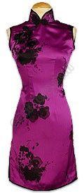 Violet Floral Printed Silk Cheongsam