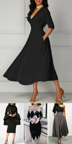 elegant black dresses for fall so cute! Wish I had some where to wear these.