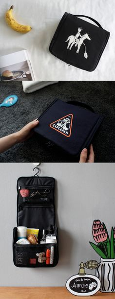 This Hanging Pouch is a must-have item for your travel! It can hold your toiletries and cosmetics in the pockets inside and allows you to carry them conveniently! Plus, you can easily get to the items inside by simply hang the pouch using the attached hook on a hanger.