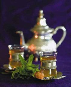 Moroccan Mint Tea: Chinese gunpowder green tea with mint leaves traditionally sweetened with sugar. I drink it unsweetened. So refreshing!