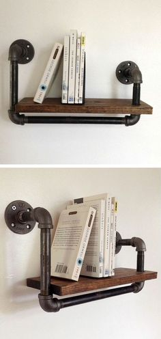 Reclaimed wood and pipe book shelf #product_design