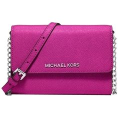 Pre-owned Michael Kors Jet Set Fuschia Cross Body Bag ($138) ❤ liked on Polyvore