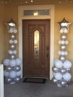 Siver And White Balloon Columns With Shining Star For Front Door Decoration