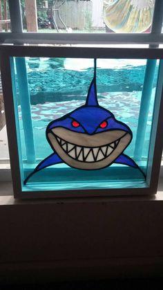 Shark Stained glass suncatcher, Stained glass panel, bruce the shark