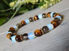 Tiger Eye, Opalite and Smoky Quartz Beaded Gemstone Bracelet