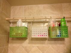 Shower storage! Tension Rod, Shower Curtain Hooks and Plastic Bins. So easy and no yucky water rings from bottles sitting on the sides of the shower!