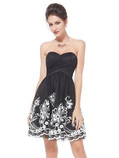 Embroidered Empire Waist Black Dress