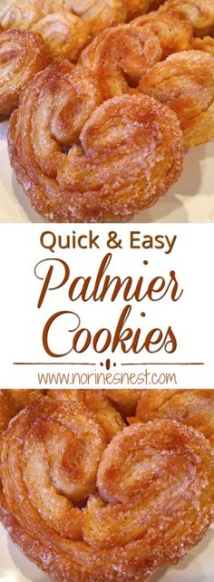 Palmier Cookies Delicious Flaky Palmiers are easy to make with premade puff pastry dough and a little cinnamon sugar! Perfect for dunking in your favorite hot drink. Puff Pastry Dough, Puff Pastry Recipes, Choux Pastry, Puff Pastries, Cake Ingredients, Whole Food Recipes, Cookie Recipes, Dessert Recipes, Crack Crackers