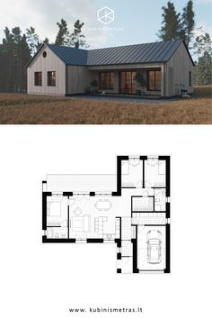 KUBINIS METRAS Architects / Laukių Family House is a subtle combination of the traditional Lithuanian and Scandinavian house with a modern twist in its architecture. Modern Barn House, Modern Cottage, Modern House Plans, Small House Plans, Scandinavian Architecture, Scandinavian Home, House Construction Plan, Small House Design, Building A House