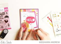 See this Hello! card come together step-by-step with by Meghann Andrew for Elle's Studio using the August Exclusives