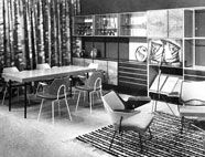 A room setting at the 1951 Milan Triennale  Robin Day with textiles designed by Lucienne Day